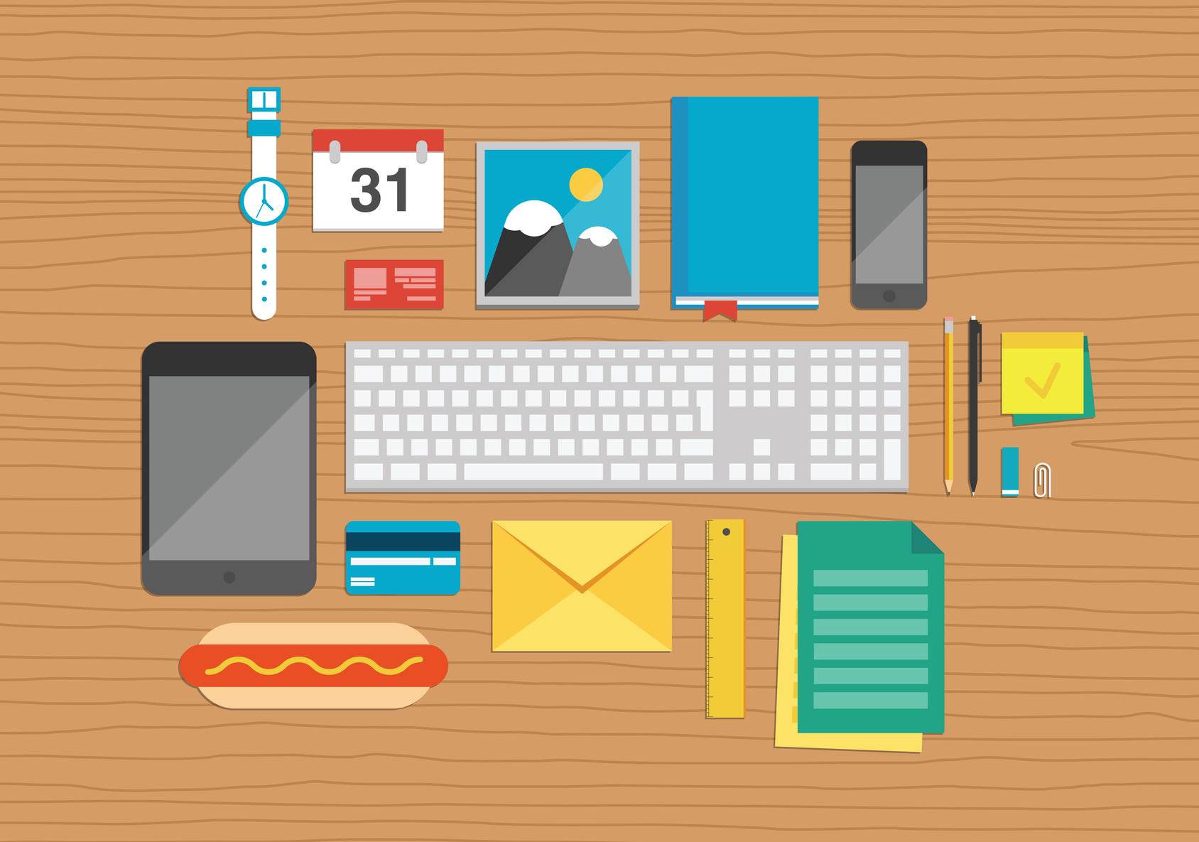 photodune-6171826-office-elements-on-desktop-illustration-m